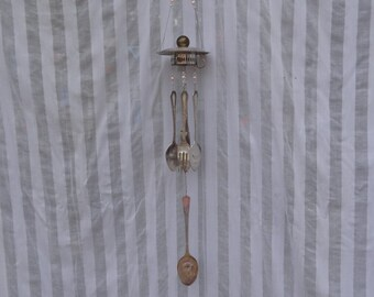 Repurposed Whimsical Demitasse Cup/Saucer Utensil Wind Chime with PInk Glass Beads WC-044