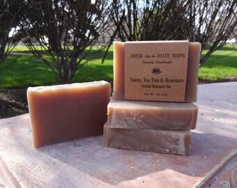 Neem Tea Tree & Rosemary Herbal Shampoo Bar, Handmade Cold Process Soap
