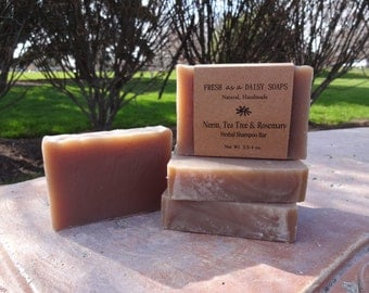 Neem Tea Tree & Rosemary Herbal Shampoo Bar, Handmade Cold Process Soap, 100% Natural