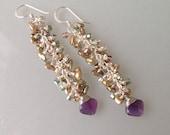 SALE. Amethyst Keshi Pearls Crystal Earrings