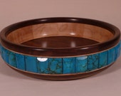 Small Segmented Bowl with Stone Inlay (Turquoise)
