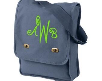 Fast Shipping, Monogram Messenger Bag, Monogrammed Crossbody Bag, Messenger Bag, Personalized Messenger Bag, Canvas Messenger Bag, Field Bag