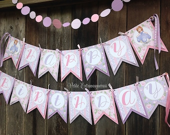 Sofia the First Birthday Banner - Purple, Pink, Lavender