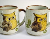 Two 1970s Owl Mugs