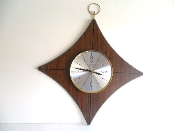 Diamond Design Wall Clock : Reserved for david retro s mod walnut wood by