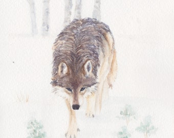 Wolf 2 in the Lamar Valley in Yellowstone National Park Original Painting