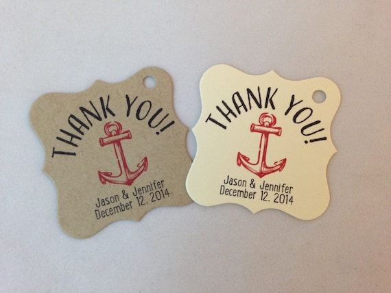 Nautical Wedding Gift Tags : Wedding Gift Tags - Thank You - Anchor - Nautical - Wedding Favor Tags ...