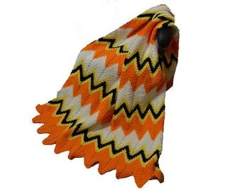 Crochet Ripple Afghan, Orange and White Blanket