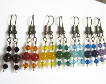 7 Chakra Earrings SET, BRONZE, Chakra A Day, Seven Pairs Gemstone Earrings, Swarovski, Garnet, Amethyst, Jade, Carnelian, Lapis, Quartz