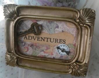 Adventure trinket box frame key Victorian design great gift keepsakes