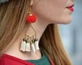 Gypsy maximal pom pom and tassels earrings