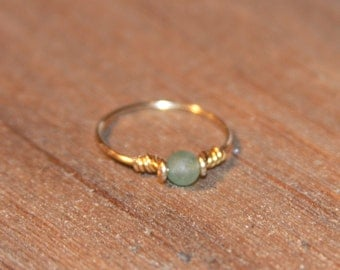 Stacking Ring, Stone Ring, Thin Rings, Green Aventurine Ring Handmade, Knuckle Ring, Wire Wrap Ring Gold Thin Ring