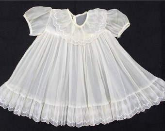 Vintage 50's Child's Sheer Pleat Embroidered Dress  12- 24 Mos