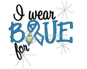 I wear Blue -Fill in the Blank -- Machine Embroidery Design