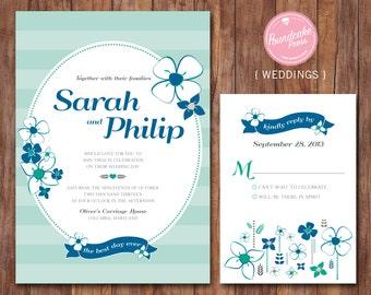 DIY Printable Wedding Invitation / The Best Day Wedding Invitation / Floral Wedding Invitation