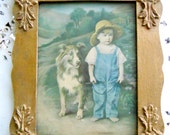 Adorable Farmhouse Vintage 1930s Print of Hand Tinted Little Child Photo With Lassie Collie Dog Adorable Wall Decor French Country Cottage