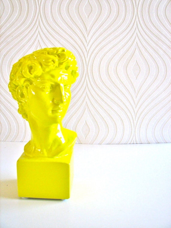 Small David Bust Statue with cube base in lemon yellow