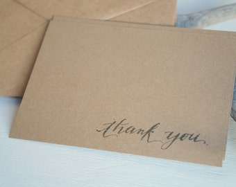 Note cards - Thank you calligraphy script on kraft card stock - set of 8 wedding, engagement, shower thank you