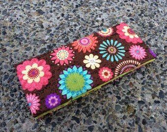 Magic Wallet - Billfold Bright Fun Flowers on Brown