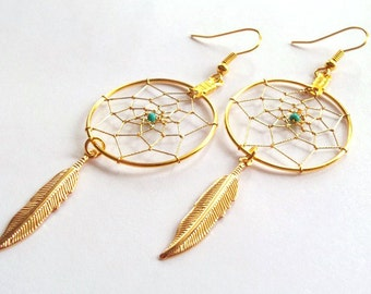 Native American Gold Dream Catcher Earrings May Emerald - Free Shipping