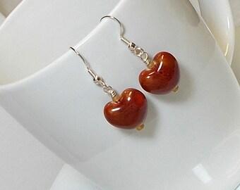Red Porcelain Heart Bead Dangle Earring