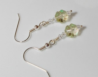 Swarovski Crystal Clover With Crystal Bicones Dangle Earring