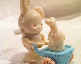 Vintage Rabbit and Baby Wind Up Toy