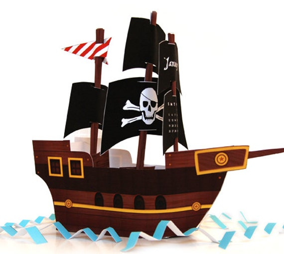Items similar to black sails pirate ship diy paper craft for Pirate ship sails template