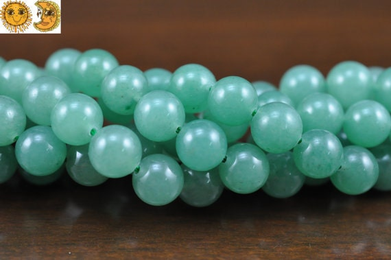 15 inch strand of Green aventurine smooth round beads 6 mm