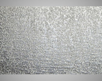 """Large abstract painting on canvas 72"""" x 24"""" Large textured art White and Silver Metallic 3D large wall art deco MADE TO ORDER by ilonka"""