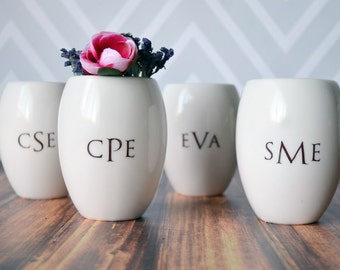 Set of 4 Bridesmaids Gifts - Personalized Vase - Gift Boxed and Ready to Give