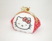Smile Hello Kitty red dots coin/change pouch/purse/wallet w metal frame