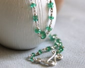 Genuine Emerald Silver Beaded Necklace - Delicate Green and Silver Chain Necklace -  Hand Wire Wrapped Jewelry - May Birthstone