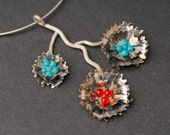 Silver Chocker Necklace, Pendant of 3 Silver Carnation Flowers, Gems in Turquoise and Orange, Delicate, Rustic Romantic