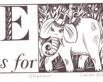 E is for Elephant - Alphabet Silkscreen Print
