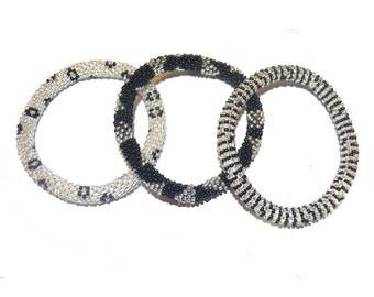 Black, Silver Crocheted Beaded Bracelet, Handmade in Nepal, Seed Beads, BS51