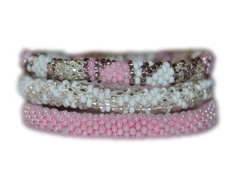 Pink, Silver and White Beaded Bracelet Set , BS119