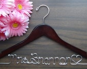 Personalized Keepsake Bridal Hanger, Custom Made Wedding Hangers with Names, Bridal Shower Gift idea,Wedding Photo Props 1