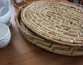 Vintage Oval Woven Place Mats with Basket
