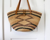 Geometric Striped Market Bag with Leather Straps and Loop Closure
