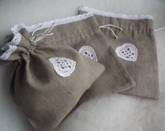 Linen drawstring wedding gift bags gray linen fabric white lace linen  sachets bags set of 3