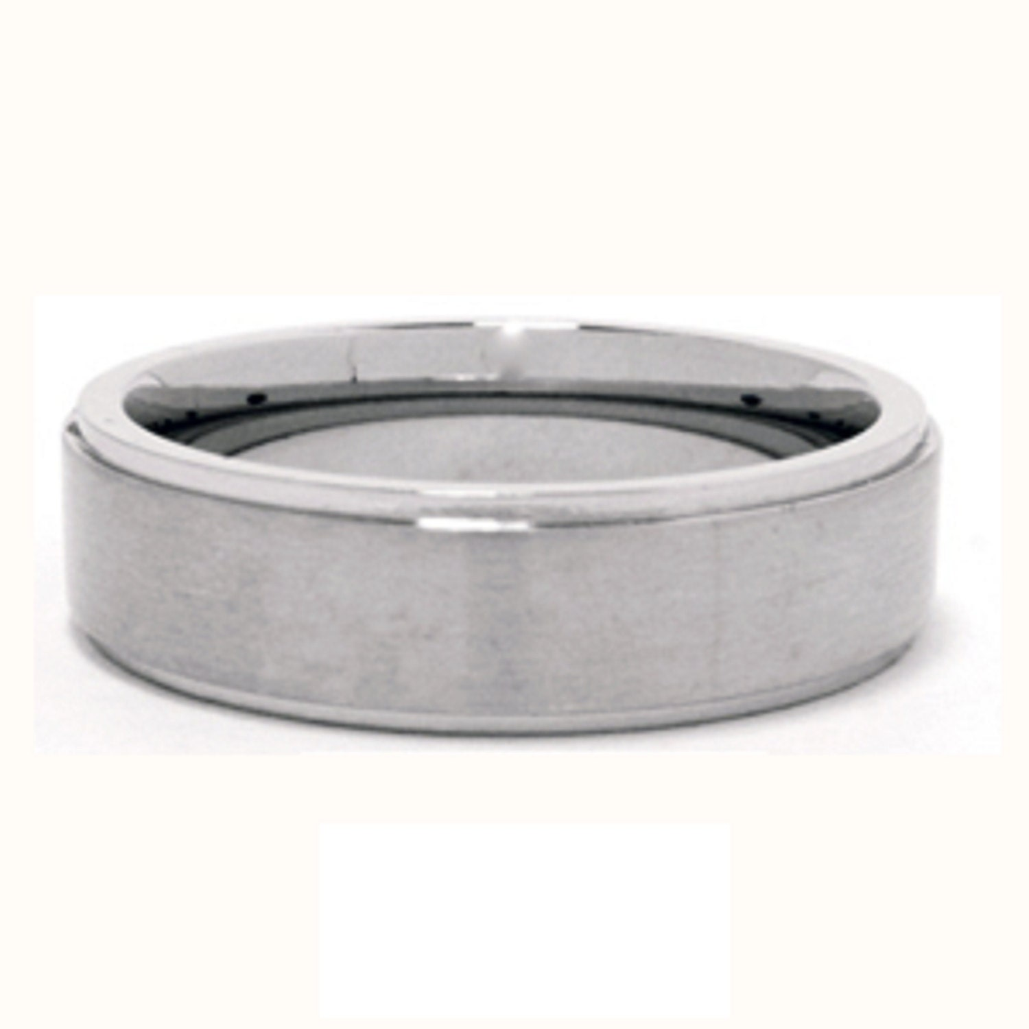 Stainless Steel Tri-Band Brushed Flat Comfort Fit Name Ring 6mm