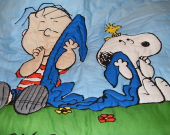 "Snoopy and Linus"" Happiness is a Thumb and a Blanket"" Quilt"