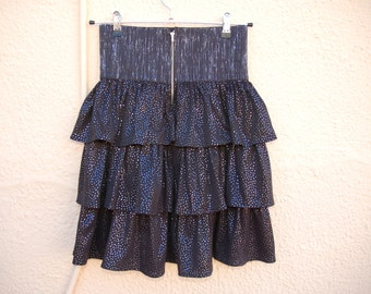 Clueless  90s Ruffled High waisted Skirt - Black dotted in silver- Seapunk / Clubkid / raver /