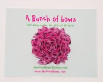 Chiffon Flower Hair Clip, Leopard Print Hair Clip, Shabby Rose, Flower Hair Accessory