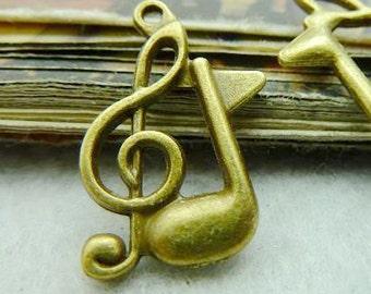 50PCS antique bronze 17x21mm music note charm pendant- XC5692