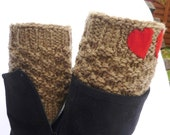 Knit Boot Cuff,  Brown color, Cofee with milk color  wellies boot cuff , knit leg warmers, with two red heart , Valentines  gifts
