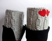 Knit Boot Cuff,  grey color, wellies boot cuff , knit leg warmers, with two red heart , Valentines day, Christmas gift,
