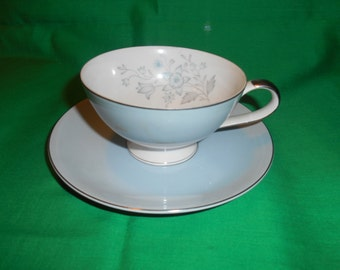 One (1), Footed, Porcelain Tea Cup & Saucer, from Mikasa, in the Royal 5295 Pattern.