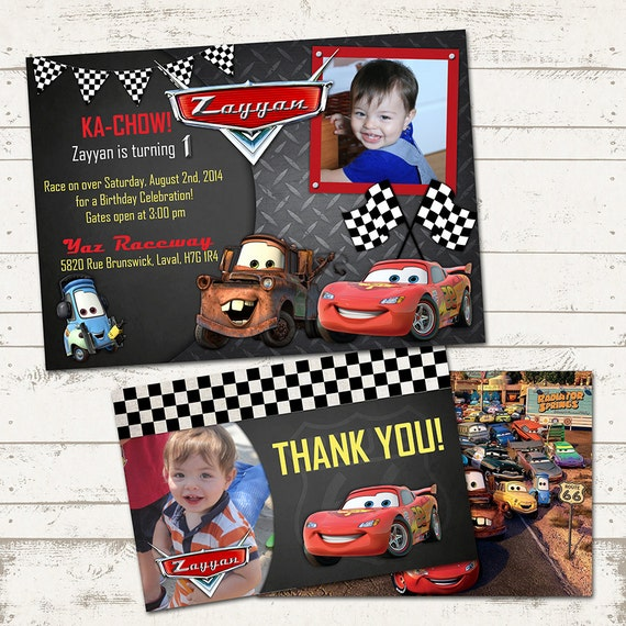 CARS Birthday Party Invitation Thank You Card